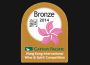 Médaille de bronze<br>du Concours International des vins et spiritueux de la Hong Kong<br>International Wine and Spirit Competition 2014